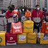 Logo #22ANoReparto .Repartidores Paran y protestan x Precariedad peligrosa en su trabajo