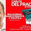 """Logo Carlos del Frade sobre su nuevo libro """"Balaceras, narcotráfico y política""""."""