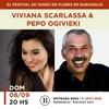 Logo Entrevista a Viviana Scarlassa y Pepo Ogivieki adelantando su prox. show en Bargoglio