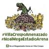 Logo Villa Crespo contra el Megaestadio con Cafe con Luber