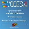 Logo Apertura de @nuestrasvocesok en @radiocaput Cacerolazo-Represión-Rebelión-Ajuste-gases